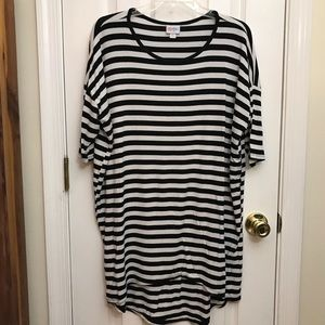 Black and White Striped, Ribbed Irma Top Medium